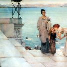 A Kiss 1891 woman and child victorian water landscape canvas art print by Lawrence Alma Tadema
