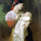 Admiration Maternelle 1869 woman and baby canvas art print by William Adolphe Bouguereau