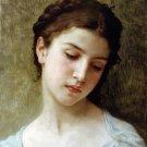 Étude  tête de jeune fille 1898 girl young woman canvas art print by William Adolphe Bouguereau