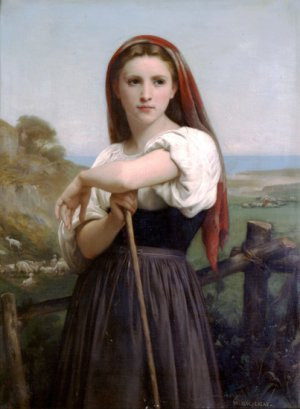 Jeune Bergere 1868 young woman girl canvas art print by William Adolphe Bouguereau
