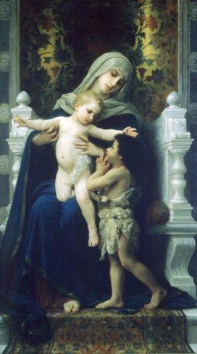 La Vierge Jesus Saint Jean Baptiste canvas art print by Bouguereau