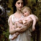 Le jeune frere 1900 girl young woman  baby canvas art print by William Adolphe Bouguereau