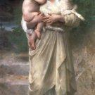 Les agneaux 1897 woman child canvas art print by William Adolphe Bouguereau