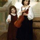Loin du pays 1867 girls children canvas art print by William Adolphe Bouguereau
