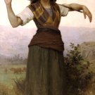 Pastourelle 1889 woman girl landscape canvas art print by William Adolphe Bouguereau