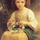 Enfant tressant une couronne 1874 child canvas art print by William Adolphe Bouguereau