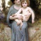 Le jeune frère 1902 Little brother Child canvas art print by William Adolphe Bouguereau