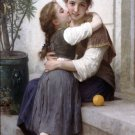 Calinerie 1890 A Little Coaxing girls canvas art print by William Adolphe Bouguereau