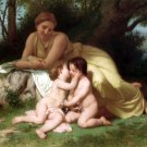 Jeune femme contemplant deux enfants qui s'embrassent 1861 canvas art print by William A. Bouguereau