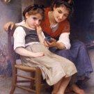 Petite boudeuse 1888 The little sulk girls canvas art print by William Adolphe Bouguereau