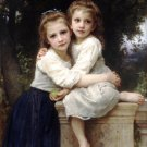Deux Soeurs 1901 Two Sisters girls canvas art print by William Adolphe Bouguereau
