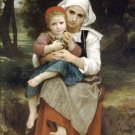 Frère et sœur Bretons 1871 girl canvas art print by William Adolphe Bouguereau