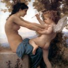 Teen girl defends herself against the love 1880 girl canvas art print by Bouguereau