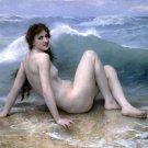 La Vague 1896 The Wave woman beach seascape canvas art print by William Adolphe Bouguereau