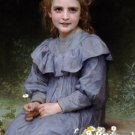 Paquerettes 1894 Daisies girl child canvas art print by William Adolphe Bouguereau