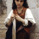 Tricoteuse 1879 The Little Knitter girl canvas art print by William Adolphe Bouguereau