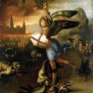 Saint Michael Dragon religious Christian canvas art print by Raphael