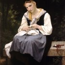 Jeune Ouvriere 1869 Young Worker woman canvas art print by William Adolphe Bouguereau