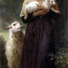 L'agneau nouveau-né 1873 The Newborn Lamb canvas art print by William Adolphe Bouguereau