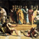 Death of Ananias religious Christian Jesus canvas art print by Raphael