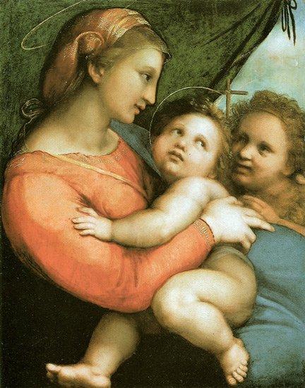 Madonna della Tenda religious Christian canvas art print by Raphael