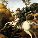 Saint George and Dragon religious Christian canvas art print Raphael