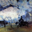 Station Saint Lazare in Paris cityscape canvas art print by Claude Monet