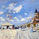 Sur les Planches de Trouville cityscape canvas art print by Claude Monet