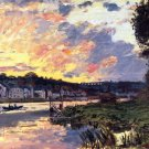 The Seine at Bougival in the Evening 1869 river canvas art print by Claude Monet