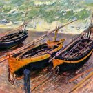 Three Fishing Boats seascape canvas art print by Claude Monet