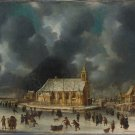 Skating at Sloten near Amsterdam cityscape canvas art print by Jan Abrahamsz Beerstraten
