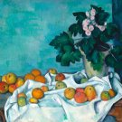 Still Life with Apples and a Pot of Primroses ca 1890 canvas art print by  Paul Cezanne
