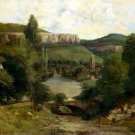 View of Ornans 1850s landscape canvas art print by Gustave Courbet