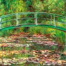 Bridge over the Sea Rose Pond water landscape garden flower canvas art print by Claude Monet