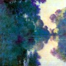 Morning on the Seine at Giverny water landscape canvas art print by Claude Monet