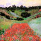 Poppy Field of Flowers in a Valley at Giverny garden landscape canvas art print by Claude Monet