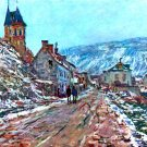 Road to Vetheuil in Winter landscape cityscape canvas art print by Claude Monet