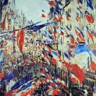 Rue St. Denis Celebration 30 June 1878 cityscape canvas art print by Claude Monet