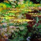 Sea Rose Pond flowers garden water Landscape canvas art print by Claude Monet
