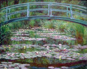 The Japanese Footbridge flowers water landscape canvas art print by Claude Monet