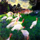 The Gobbler male turkey bird landscape canvas art print by Claude Monet