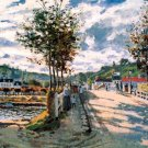 The Seine at Bougival water landscape canvas art print by Claude Monet