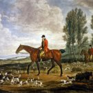 Men on Horseback with Dogs, fox hunting 1930 equestrian canvas art print by Henry Macbeth-Raeburn