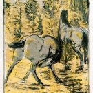 Horses in the Over Supply equestrian domestic animal farm landscape canvas art print by Franz Marc