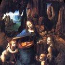 The Virgin of the Rocks religion canvas art print by Leonardo da Vinci
