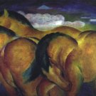 Little Yellow Horses equestrian domestic animal farm woods landscape canvas art print by Franz Marc