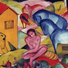 The Dream 1912 horses equestrian woman domestic animal farm canvas art print Franz Marc