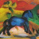 The Little Blue Horse 1912 equestrian domestic animal farm woods canvas art print by Franz Marc