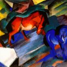 Red and Blue Horse 1912 equestrian domestic animal farm landscape canvas art print by Franz Marc