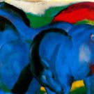 Little Blue Horse 1911 equestrian domestic animal farm woods landscape canvas art print Franz Marc